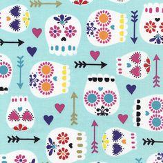 Fabric... Modern Sugar Skulls on Mint by Timeless Treasures