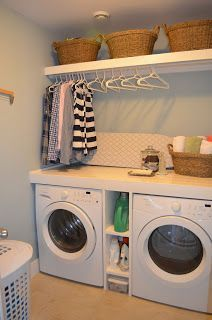 Fun Home Things: 10 Laundry Room Ideas. The counter atop the washer/dryer and shelf above with room for hangers is all SO great!
