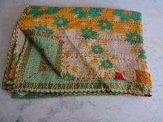 Kantha Vintage Quilt Bedding Blanket Throw Indian Cotton Gudari Reversible A 188 #Handmade
