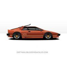 Anyone else notice Bateau's car was built on a lotus? New artwork up at dirtynailsbloodyknuckles.com  Link in profile  #lotus #esprit #espritturbo #goskiing #lotusesprit #bond #jamesbond #britishcars #sportscar #fastcar #illest #fatlace #periodcorrect #tbabrand #classiccar #vintage #addlightness #colinchapman