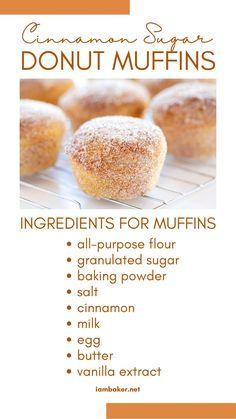 Muffin Tin Recipes, Fun Baking Recipes, Donut Recipes, Brunch Recipes, Sweet Recipes, Breakfast Muffins, Breakfast Dessert, Breakfast Dishes, Doughnut Muffins