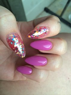Stilettos for myself  Gel colors by Light Elegance in Bossy and Gum Drop.