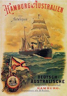Vintage poster for Hamburg-Australia German Cruise Steamer Ship Old Poster, Retro Poster, Vintage Poster, Poster Ads, Advertising Poster, Vintage Travel Posters, Vintage Postcards, Vintage Advertisements, Vintage Ads