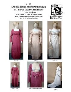 Sewing Pattern Laughing Moon 126 - LM 126 Ladies' Regency Era Round or Trained Gown with a High Stomacher Front Victorian Ball Gowns, Victorian Corset, Regency Dress, Regency Era, Moon Costume, Types Of Gowns, Gown Pattern, Costume Patterns, Dress Patterns