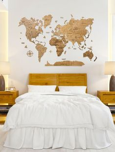 Office wooden World Map by WoodPecStudio. Travel push pin maps for wall office decor, bedroom and living room rustic decor, hallway decoration. World maps from wood for wall decor in farmhouse style. Push Pin World Map, World Map Wall Art, Map Wall Art, Anniversary Gift, Wooden Travel Push Pin Map, Housewarming Gift #woodenwalldecor #walldecor #babyroomdecor Wooden Map, Wooden Wall Art, Wood Wall, World Map Wall Decor, Wood World Map, Map Bedroom, Bedroom Decor, Bedroom Ideas, World Map Travel