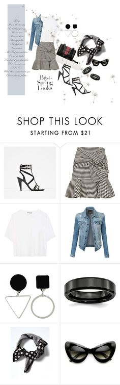 """""""conestilo"""" by conestilo ❤ liked on Polyvore featuring SKORA, Veronica Beard, Vince, LE3NO, H&M, Banana Republic, ZeroUV, denimjacket, WhiteT and spriing"""