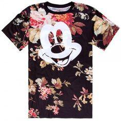 NEFF Tシャツ・カットソー ネフ 13HD03FA NEFF×DISNEY COLAB MICKEY FACE TEE FLORAL