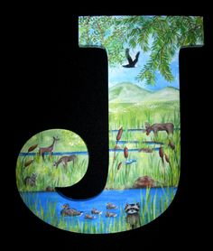 Hand Painted Letter J
