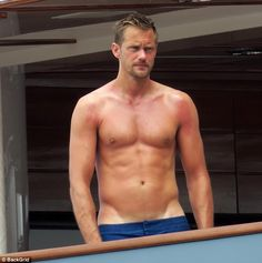 Looks painful: Alexander Skarsgard, 40, was spotted on the island of Capri on Saturday with sunburned skin