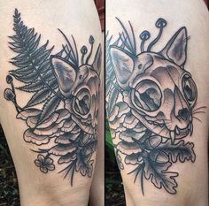 Cat Skull (feat. ears + whiskers) and Florida flora, designed by Katie Ryan of Anthem Tattoo Parlor (Gainesville, FL)
