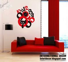 modern wall clock sticker, red and black clock sticker style