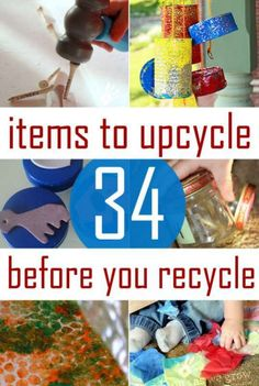 36 Upcycled Kids Crafts & Activities to Make! - 36 Upcycled Kids Crafts & Activities to Make! 34 items to upcycle before you recycle them. Great projects for Earth Day. Upcycled Crafts, Recycled Art Projects, Craft Projects, Repurposed, Recycled Materials, Upcycling Projects For Kids, Children Projects, Recycled Furniture, Furniture Ideas