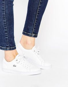 Lacoste   Lacoste White Leather Showcourt Trainers at ASOS