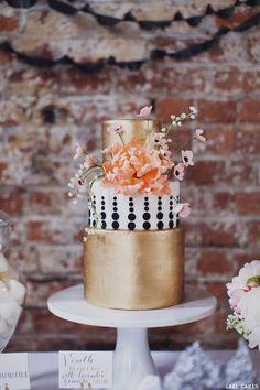Chanel Meets Brooklyn - cake by Emily Lael Aumiller of Lael Cakes.  I love the graduated polka dots and gorgeous metalics.  I just love it all :)