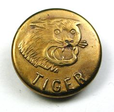 Antique Brass Work Clothes Button Tiger Brand w/ Snarling Tiger Face - 5/8""