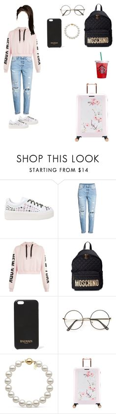 """""""Untitled #26"""" by baekyy ❤ liked on Polyvore featuring Kenzo, Moschino, Balmain and Ted Baker"""