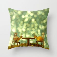 Table For Two In The Rain Pillow Cover Tiny Table & Chairs Green Moss Natural History Snail Photograph Gastropods Bokeh