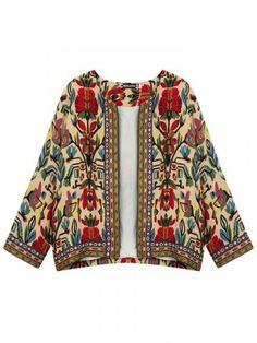 Vintage Floral ethnique Imprimer Broderie Slim Jacket- Newchic Plus Size…