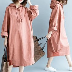 Loose Thick Casual Hooded Dress - Winter Outfits for Work Chic Winter Outfits, Casual Dress Outfits, Winter Outfits Women, Business Casual Outfits, Winter Outfits For Work, Cute Outfits, Work Outfits, Skirt Outfits, Summer Outfits