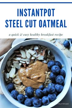 If breakfast is the most important meal of the day you might as well make it tasty. This Easy InstantPot Steel Cut Oatmeal recipe is as easy as it is healthy Best Breakfast Recipes, Make Ahead Breakfast, Easy Dinner Recipes, Breakfast Ideas, Healthy Food Blogs, Healthy Eating, Flax Seed Recipes, Healty Dinner, Fruit Recipes