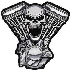 Lethal Threat Skull Motor Embroidered Patch 11 x 11 ** Read more at the image link. Motorcycle Patches, Biker Patches, Skull Patches, Motorcycle Engine, Crane, Virago Bobber, Biker Tattoos, Harley Davidson Logo, Simply Southern Tees