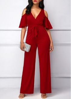 Half Sleeve V Neck Cold Shoulder Jumpsuit Jumpsuit Outfit, Red Jumpsuit, Jumpsuits For Girls, Jumpsuit Pattern, Looks Chic, Diva Fashion, African Fashion, Passion For Fashion, Pants For Women