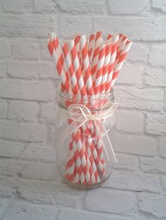 25 CORAL Striped Paper Straws, Striped Paper Straws, Retro Vintage Straws, Wedding Bridal Baby Shower, Birthday Party, Party Supplies by TheSunshineVillager on Etsy https://www.etsy.com/listing/200262164/25-coral-striped-paper-straws-striped