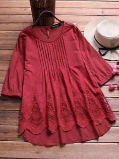 CN Blouses & Shirts White / M Crochet Hollow Irregular Blouses Pakistani Dresses Casual, Pakistani Dress Design, Kurta Designs Women, Blouse Designs, Frock Fashion, Fashion Dresses, Fashion Clothes, Simple Outfits, Chic Outfits