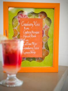 Skip the typical tented cardstock label and make shadow boxes to showcase your signature drink menu as well as other signs around the ceremony and reception.