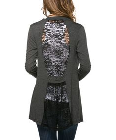 Charcoal Lace-Back Open Cardigan   Something special every day