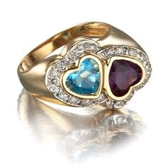 Double Heart Family Birthstone Ring in 14k Gold with Diamonds
