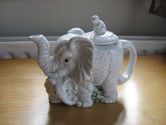 collectable china teapot ELEPHANT mum and baby with MONKEY | eBay