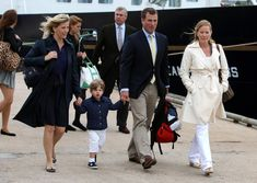 Sophie,The Countess of Wessex, her son James, Viscount Severn, Peter Phillips and Autumn Phillips followed by (back left to right) Princess Eugenie, Princess Beatrice and their father Prince Andrew,...
