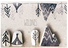 "Hand-carved stamp set ""Wilderness"" - Craftwork - Easy Crafts For Everyone Stamp Printing, Printing On Fabric, Eraser Stamp, Stamp Carving, Fabric Stamping, Handmade Stamps, Tampons, Linocut Prints, Fabric Painting"
