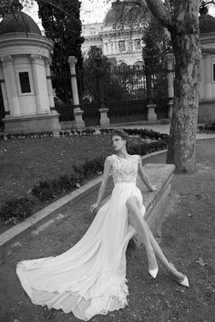 Stunning flowing wedding gown with thigh high split