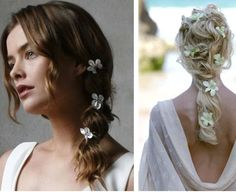 mostly dying to see that dress on the right..love this idea of the plumeria flowers in the hair!!