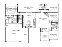 Floor Plans AFLFPW22209 - 1 Story Ranch Home with 4 Bedrooms, 3 Bathrooms and 1,938 total Square Feet