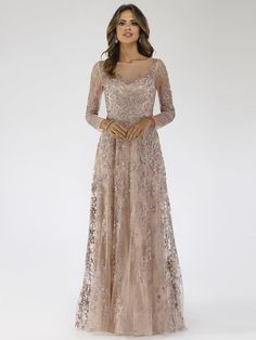 Lara 29677 - Illusion Neckline A-line Long Sleeves Gown Mob Dresses, Wedding Dresses, Dresser, Long Sleeve Gown, Illusion Neckline, A Line Gown, Groom Dress, Beautiful Gowns, Lovely Dresses