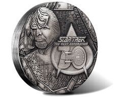 Star Trek: The Next Generation Lieutenant Commander Worf 2017 2oz Silver Antiqued Coin