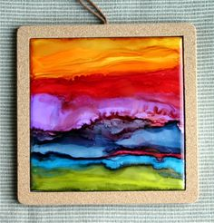 Alcohol Inks - Abstract on 6x6 tile ~ Artist: Cindy Howe