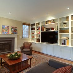 Traditional Living Room built in bookcase Design Ideas, Pictures, Remodel and Decor