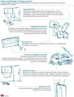 Médicos dão dicas de como amenizar desconforto por clima seco. Veja em http://glo.bo/1xMSN9N (Foto: Arte/G1)