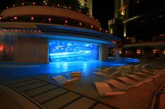 The World's Craziest Hotel Pools Golden Nugget, Las Vegas  Inside the Golden Nugget in Las Vegas sits a year-round heated pool that features a shark tank, a 3-story waterslide and private cabanas.