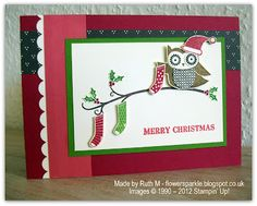 Flower Sparkle: Owl Merry Christmas Card - Simply Stampin' Challenge # 76