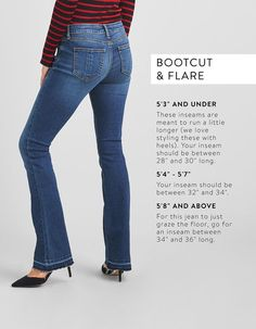 Stitch Stylist: I really like these jeans! guide to denim inseams, denim inseam guide, denim inseams Jeans For Tall Women, Best Jeans For Women, Tall Jeans, Pants For Women, Jacket Style, Jeans Style, T Shirt Hacks, Diy Fashion Hacks, Fashion Tips