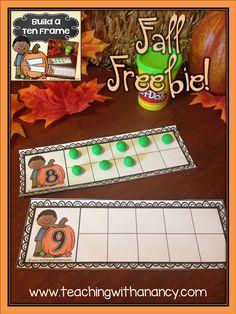 Build a Fall Ten Frame is a prek and Kindergarten math station activity - free… Thanksgiving Preschool, Fall Preschool, Math Classroom, Kindergarten Activities, Fun Math, Teaching Math, Preschool Activities, Math Games, Theme Halloween