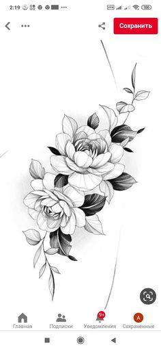 Peony Flower Tattoos, Flower Tattoo Drawings, Tattoo Design Drawings, Vine Tattoos, Cover Up Tattoos, Sleeve Tattoos, Peony Drawing, Floral Drawing, Family Tattoo Designs