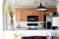 best paint colours for a light or medium toned oak kitchen to update it without painting the wood include benjamin moore colours