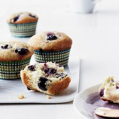 Blueberry Muffins with Banana Butter | These muffins are crisp on top with light, fluffy centers and plenty of big juicy blueberries. They're terrific spread with sweet, creamy banana butter.