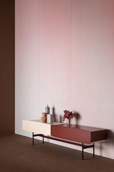 Console Cabinet, Cabinet Furniture, Furniture Design, Dresser In Living Room, Home Living Room, Metal Shelves, Cabinet Design, Storage Spaces, Interior Design